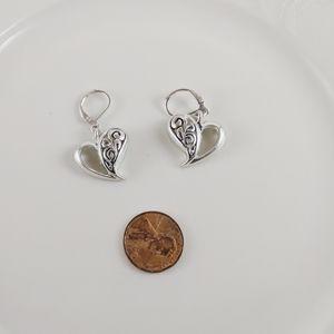 Brighton Silver Plate Heart Scroll Lever Earrings
